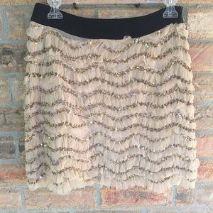 Milly New York Ruffled Sequin Mini Skirt Blush 2